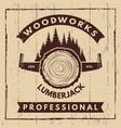 retro poster with monochrome symbols sawmill vector image