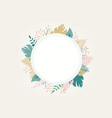 round floral frame on white vector image vector image