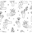seamless pattern female hands in minimal vector image vector image