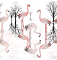 seamless pattern with of pink flamingo vector image