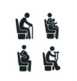 set detailed black icons priority seats on vector image vector image