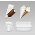 set of Popsicle Ice Cream Waffle Cone with Box vector image vector image