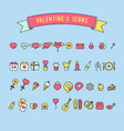 set of valentines day objects and icon vector image