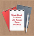 text work hard in silence vector image vector image