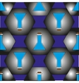 The pattern of flasks in hexagons which represent vector image