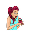 the retro girl is delighted with the cake holds vector image vector image