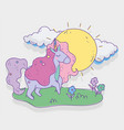unicorn with stars sunny day flowers fantasy magic vector image vector image