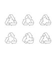 waste recycling sign arrow triangle icon line vector image