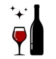 wine glass and bottle with star vector image