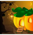 Halloween pumpkin house with lamp and bats on the vector image