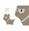 serious cat angry stare big eyes cartoon vector image