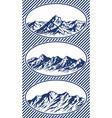 set of mountain range silhouettes vector image