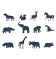 animal icons silhouettes vector image