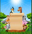animals with paper blank sign in savannah vector image vector image