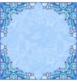 blue invitation card with ethnic background vector image