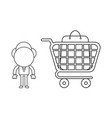 businessman character with shopping bag inside vector image vector image