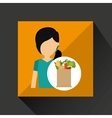 cartoon girl hair grocery bag vegetables vector image