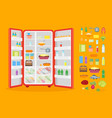 cartoon opened refrigerator full of food and vector image vector image