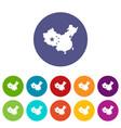 china flag icons set flat vector image vector image