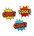 cool in pop art retro comic style cartoon slang vector image vector image