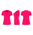 crimson pink womans t-shirt in back front and vector image