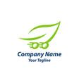 delivery leaf logo design color green vector image vector image