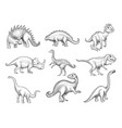 dinosaurs collection extinction wild herbivorous vector image