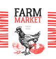 Farm market poster design template Hand drawn vector image