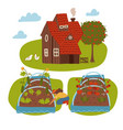 farm scene with country house female farmer vector image