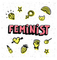 feminist card feminist hand drawn inscription and vector image vector image