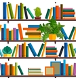 Flat line colorful seamless pattern of books vector image