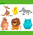 funny animal characters cartoon set vector image