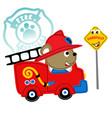 funny fire rescue cartoon vector image vector image