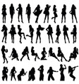girls silhouette set in black color vector image vector image