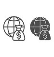global payment line and glyph icon globe and vector image vector image