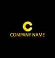golden letter c emblem with black background vector image vector image