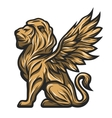 Golden statue of a lion with wings vector image vector image