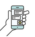 hand holding smartphone chatting linear icon line vector image vector image