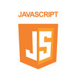 js emblem orange shield and white text vector image