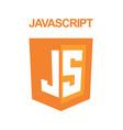 js emblem orange shield and white text vector image vector image