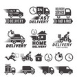 logos set fast delivery service labels vector image