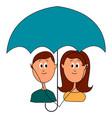 love under umbrella on white background vector image