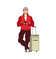 man with luggage in airport cartoon male vector image vector image