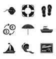 miami beach icons set simple style vector image vector image
