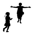 mother silhouette with open arms running to a vector image vector image