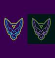 neon wolf head vector image vector image