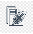 paper and feather concept linear icon isolated on vector image