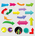 paper arrow stickers with shadows vector image vector image