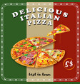 pizza colored poster vector image vector image