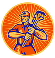Plumber with monkey wrench retro vector | Price: 1 Credit (USD $1)
